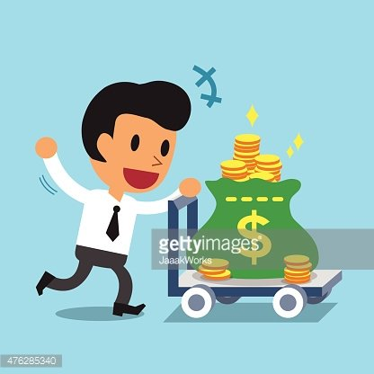 Cartoon Businessman Pushing Money Trolley Clipart Image