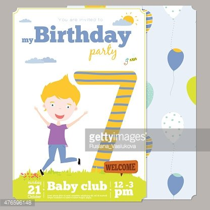 Birthday Party Invitation Card Template With Cute