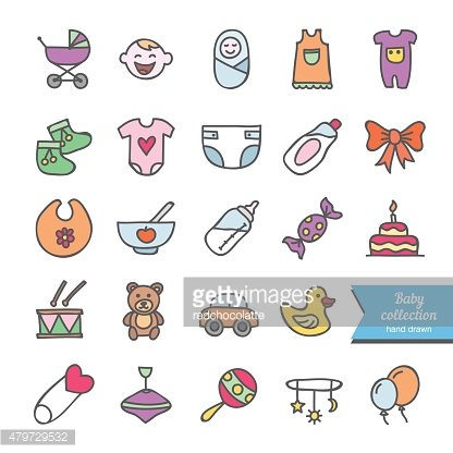 Hand drawn baby and children icons: toys, food, clothes, baby ...