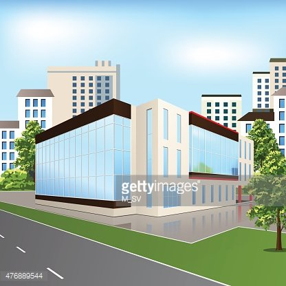 office building with reflection on the street background