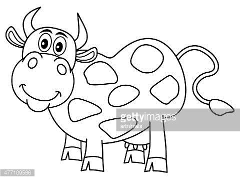 Smiling Huge Cow For Coloring Clipart Image
