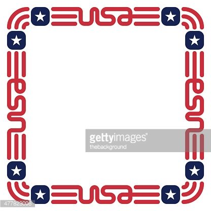 Frame with USA flag colors and symbols for invitation.