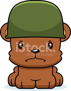 Cartoon Angry Soldier Bear