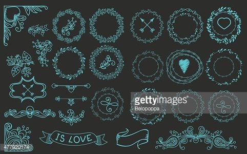Collection of handdrawn laurels and wreaths