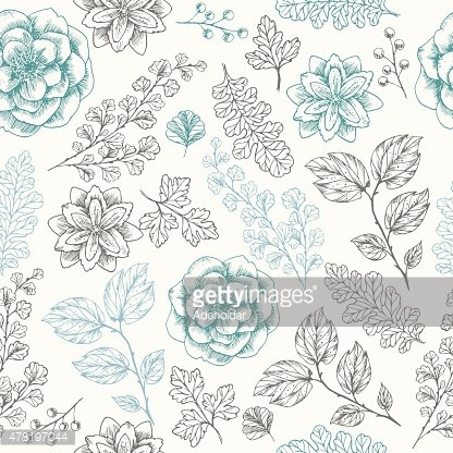 Hand drawn leaf and flower seamless pattern. Vector illustration