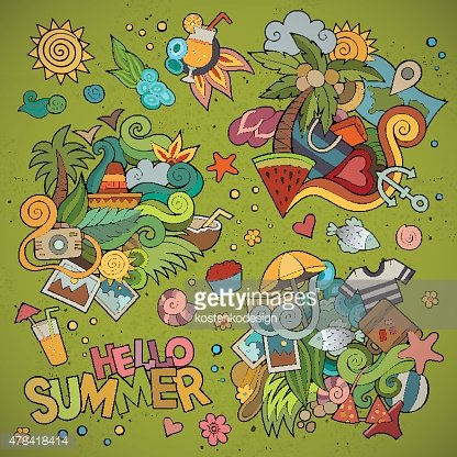Summer and vacation symbols and objects