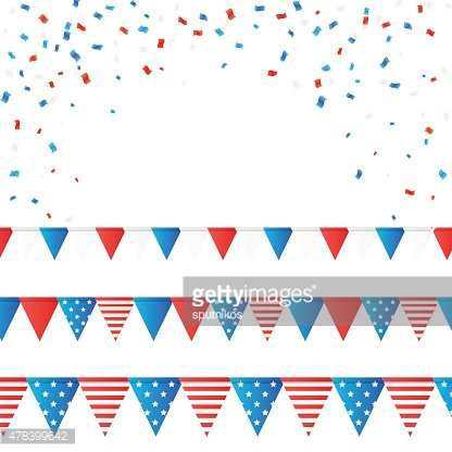 Vector independence 4 July element flags and confetti
