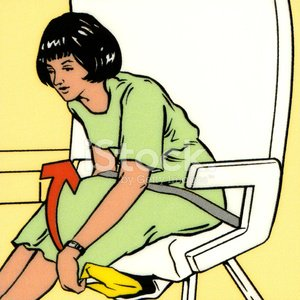 Woman Getting Life Vest From Under Her Seat