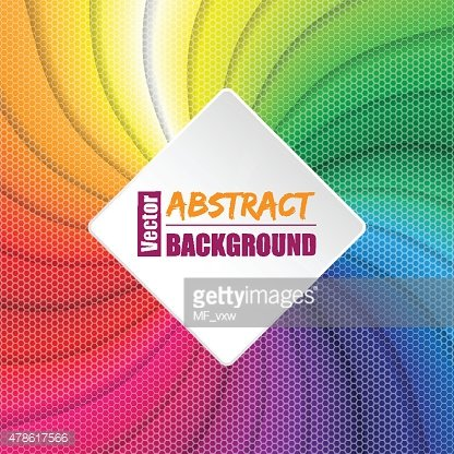 Twirling rainbow square background with hexagon elements