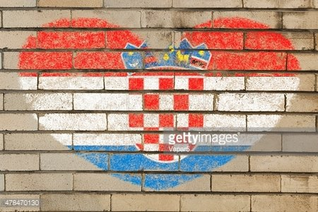 heart shape flag of Croatia on brick wall