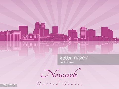 Newark skyline in purple radiant orchid