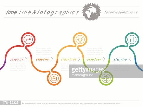 Infographic timeline. Time line of tendencies and trends. Vector