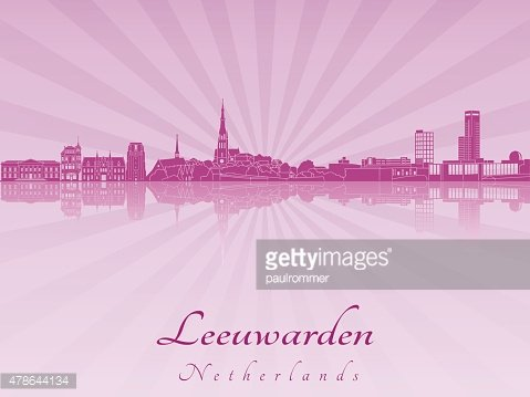Leeuwarden skyline in purple radiant orchid