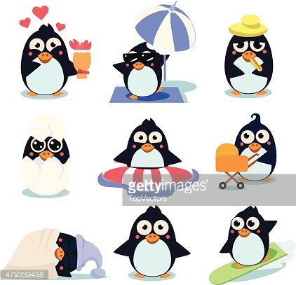 Penguin Set Vector Illustration, with Penguins in Different Situations