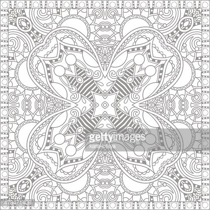 unique coloring book square page for adults - floral authentic