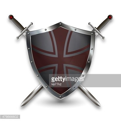 Silver shield with two swords.