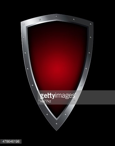 Red heraldic shield with riveted border.