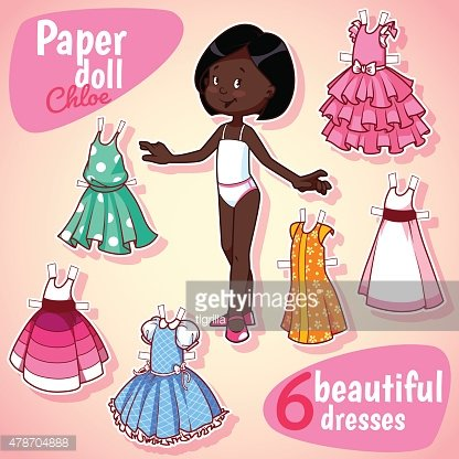 Very cute paper doll with six beautiful dresses. Brunet girl.