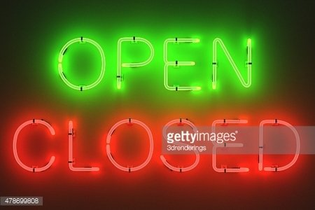 Neon Lights Open and Closed Signs premium clipart