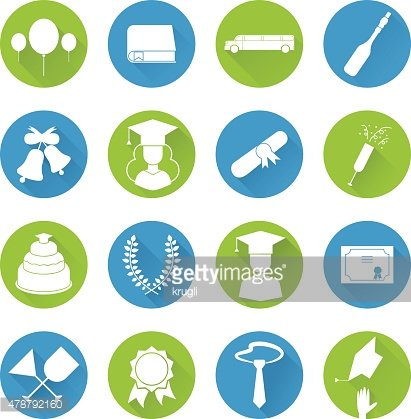 Graduation Celebrating Icon Vector Set