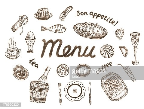 Set of food illustrations in retro style on white background