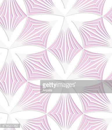 White colored paper pink pointy trefoils
