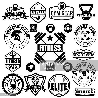 Set of various sports and fitness icons and design elements