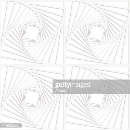 Paper white squares with inside swirling