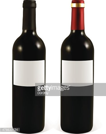 Set realistic bottle of red wine