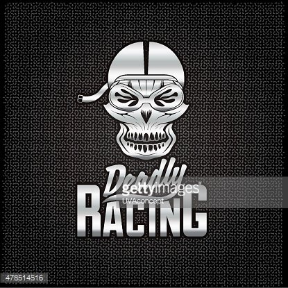 silver skull racer with flame glasses vintage vector design temp