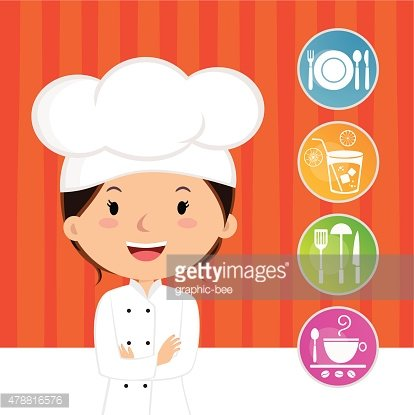 Beautiful woman chef with cooking icons