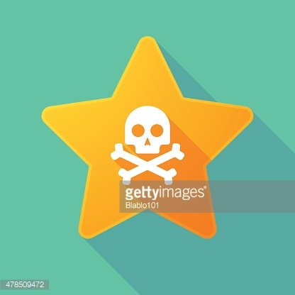 Long shadow star with a skull