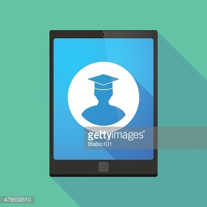 Tablet pc icon with a student avatar