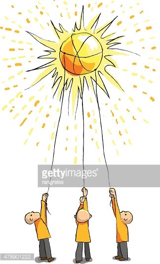 Three people catch the sun with ropes