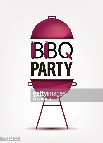 Barbecue BBQ party invitation with grill. logo, icon, sign