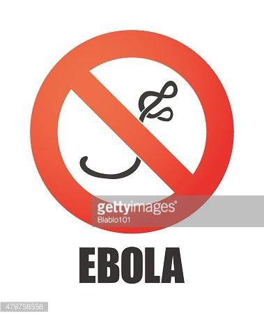 Forbidden signal with an ebola sign