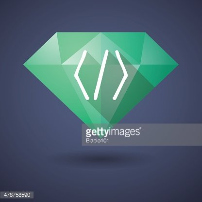 Diamond icon with a code sign