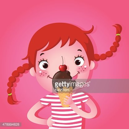 Cute girl eating icecream