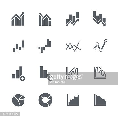 Business graphs stock icons