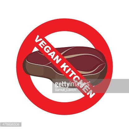 Stop signs. Kitchen excludes meat. Vegetable dishes. Vector illu