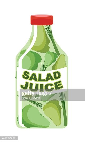 Salad juice. Juice from fresh vegetables. Lettuce in a transpare