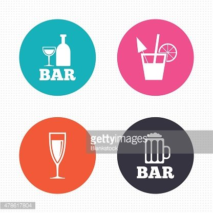 Bar or Pub icons. Glass of beer and champagne