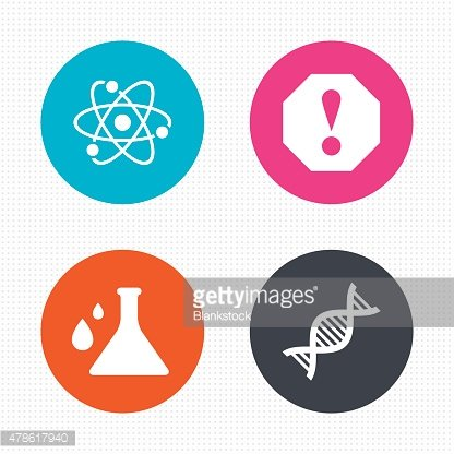 Attention and DNA icons. Chemistry flask