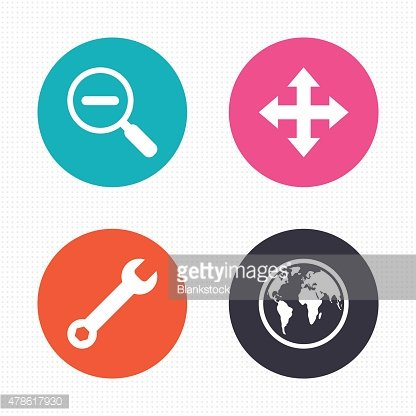 Magnifier glass and globe signs. Fullscreen