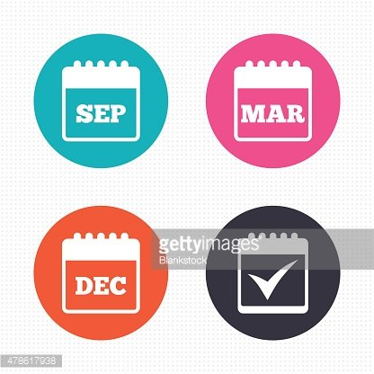 Calendar icons. September, March, December