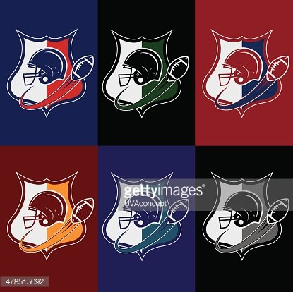 set of vintage american football crests