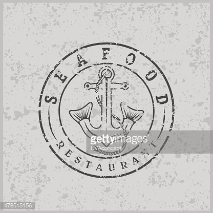 grunge anchor with fish tails seafood restaurant label