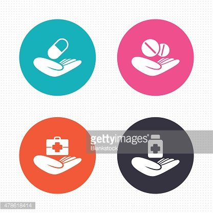Helping hands icons. Medical health insurance