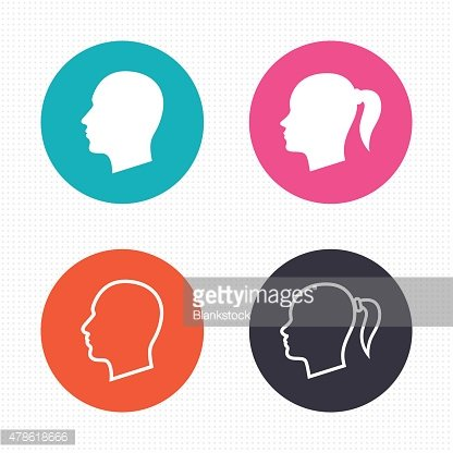 Head icons. Male and female human symbols