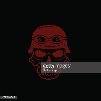 skull in helmet, biker theme vector design template